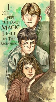 Young Harry, Hermione and Ron by aquiles-soir