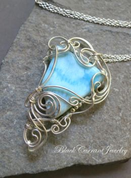Larimar and Sterling Silver - triangle cabochon by blackcurrantjewelry