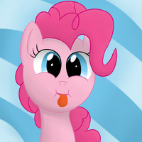 Pinkie making a silly face by Nyax