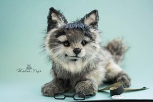 Poseable toy Commission: wolf cub by MalinaToys