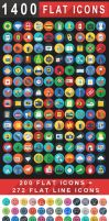 1400+ Flat Icons - Colorful Flat Icons Set | iOS9 by CURSORCH