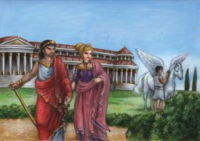 Bellerophon and Pegasus at King Proteus' palace by suburbanbeatnik