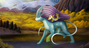 Suicune Ride (commission) by domicreate