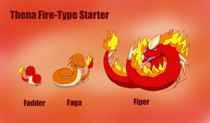 Thena fire-type starter by GhostLiger