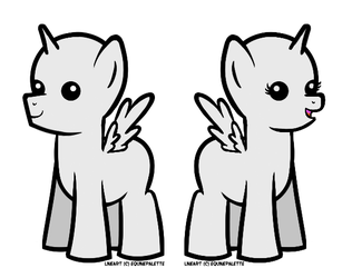 F2U: Chibi Pony Base/Lineart by equinepalette