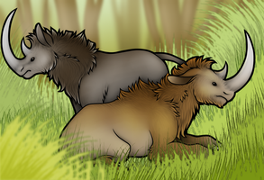 Woolly Rhinos by wingedwolf94