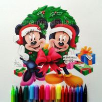 Christmas Mickey and Minnie by samiahdagher