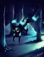 Shiny Umbreon, Pokemon (with Speedpaint Video) by FinsterlichArt