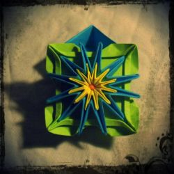Origami box: Blue water lily by nefer-et