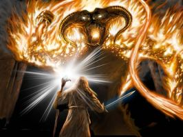 Gandalf vs the Balrog by kikassassassin