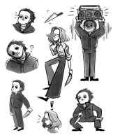 Michael Myers and Laurie Strode (Halloween 1978) by Yodeki