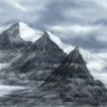 Landscape Study: Snowy Mountains On A Cloudy Day by TheadoraWolf