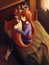 Spice and Wolf: Horo - pleasures of tail grooming by Eaglshadow