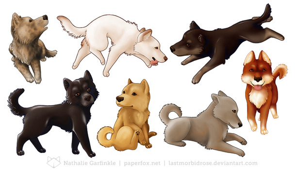 Jindo Stickers by art-paperfox