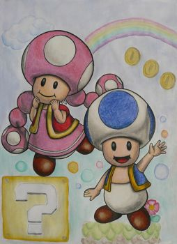 Blue Toad and Toadette by sbslink