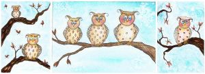 set three owls by dragonflywatercolors