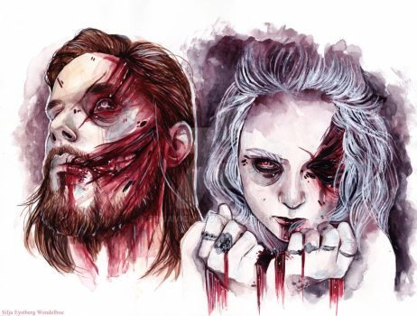 Jan and Alice as zombies by SiljaVich