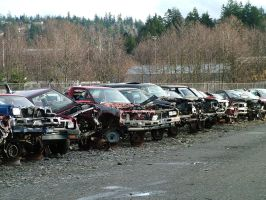 junk yard - crashed cars 1 by JensStockCollection