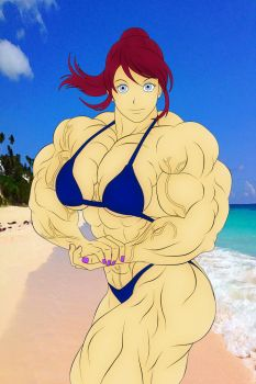 Claire Redfield - Flexing at The Beach by LauriceDeauxnim
