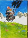 Howl's Moving Castle Acrylic Painting by katsudo1
