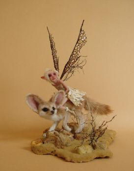 Desert Fox and Fairy Sculpture by pixiwillow