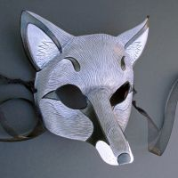 Gray Fox Leather Mask by merimask