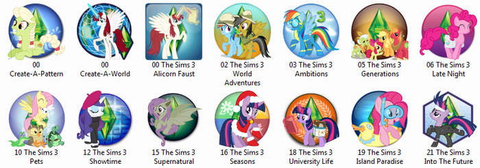 My Little Pony Sims 3 Icons - Windows by ShadowOfABlackCrow