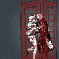 Phone Booth in the Rain by sweetlynumb63