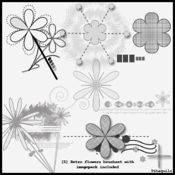 5 Retroflowers brushset by 9thaquilo