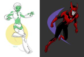 [Green Lantern: TheAnimated Series]  Aya and Razer by laurbits