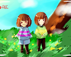 Cheeeese - Frisk and Chara! by Lysame