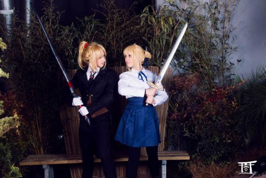 Mordred and Artoria by MorganaBlackwings