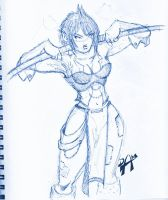Warrior chick - ink pen sketch by dmario