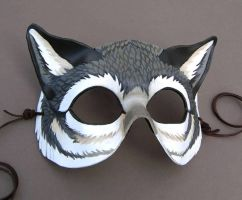 Gray Wolf Leather Mask by windfalcon