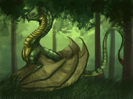 Green Forest Dragon by chrysaetos-pteron