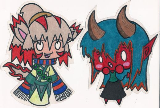 Goddess Mia and Devil Yuka by RaichuFanxDDDD