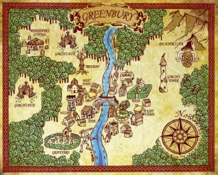 Map of Greenbury from Balachor's Revenge by Zombie-Pacman