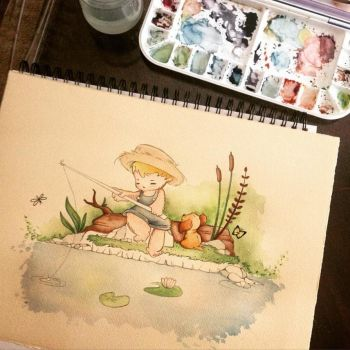 Little Fisherman~ work in progress by PinkBunnie