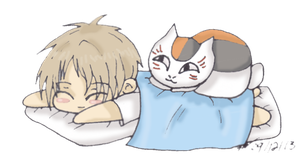 Natsume and Nyanko-Sensei by HumanStick