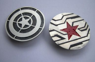 Captain America and Winter Soldier Belt Buckles by kenshin1387