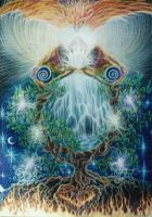 Phoenix Rising  out of the Tree of Life by dreamagic