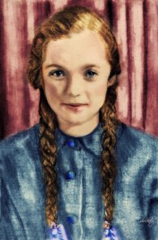 Pencil Colorized:  Barbara as a Young Girl by shuckaby