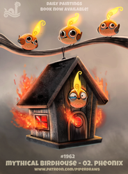 Daily Paint 1962# Mythical Birdhouse - Pheonix by Cryptid-Creations