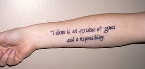 Alan Rickman 'Talent' quote tattoo by TheCopperDragon2004