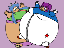 Veena and Svetlana Inflated (CandiTheWildPig) by JuacoProductionsArts