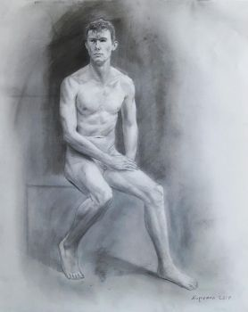 Nude Seated Male Study #1-2017 by Landscapist
