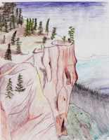Trees on a cliff by Messinground