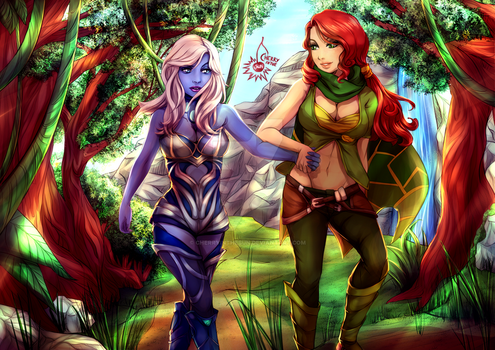 commission - Windranger x Drow Ranger by CherryInTheSun