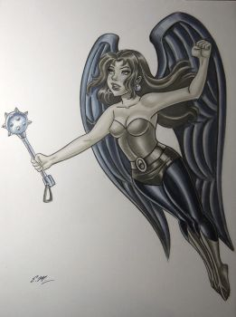 Hawkgirl Marker Drawing by em-scribbles