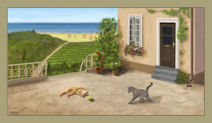 Cats playing by vivist